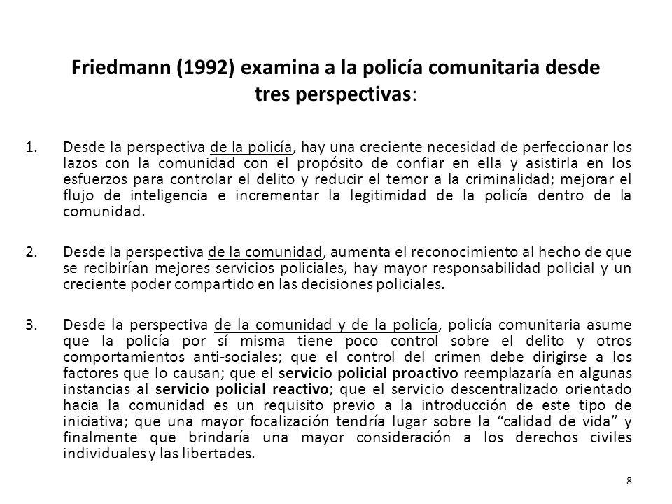 Friedmann (1992) examina a la policía comunitaria desde tres perspectivas: 1.Desde la perspectiva de la policía, hay una creciente necesidad de perfec