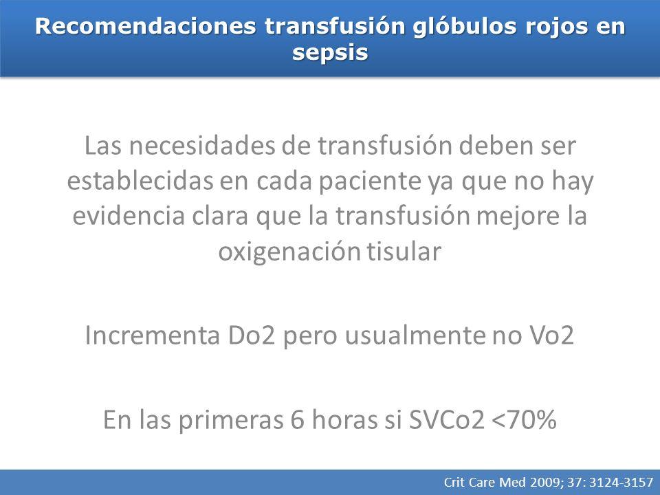 Recomendaciones transfusión glóbulos rojos en sepsis Crit Care Med 2009; 37: 3124-3157 Las necesidades de transfusión deben ser establecidas en cada paciente ya que no hay evidencia clara que la transfusión mejore la oxigenación tisular Incrementa Do2 pero usualmente no Vo2 En las primeras 6 horas si SVCo2 <70%