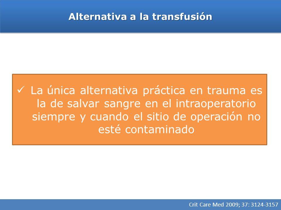 Alternativa a la transfusión La única alternativa práctica en trauma es la de salvar sangre en el intraoperatorio siempre y cuando el sitio de operación no esté contaminado Crit Care Med 2009; 37: 3124-3157