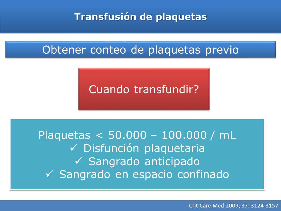 Transfusión de plaquetas Obtener conteo de plaquetas previo Cuando transfundir? Plaquetas <50.000/mL En TEC < 100.000 / mL Conteo plaquetario normal c