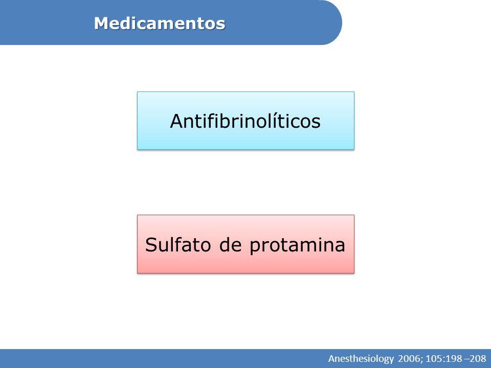 Medicamentos Antifibrinolíticos Sulfato de protamina Anesthesiology 2006; 105:198 –208