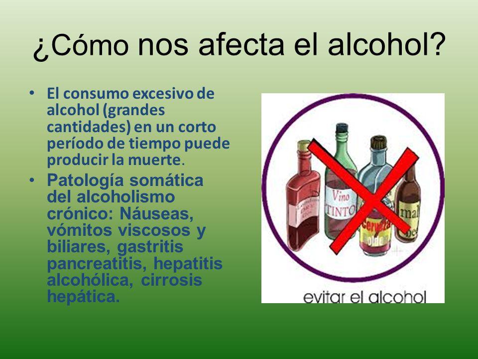 ¿ Cómo nos afecta el alcohol? El consumo excesivo de alcohol (grandes cantidades) en un corto período de tiempo puede producir la muerte. Patología so