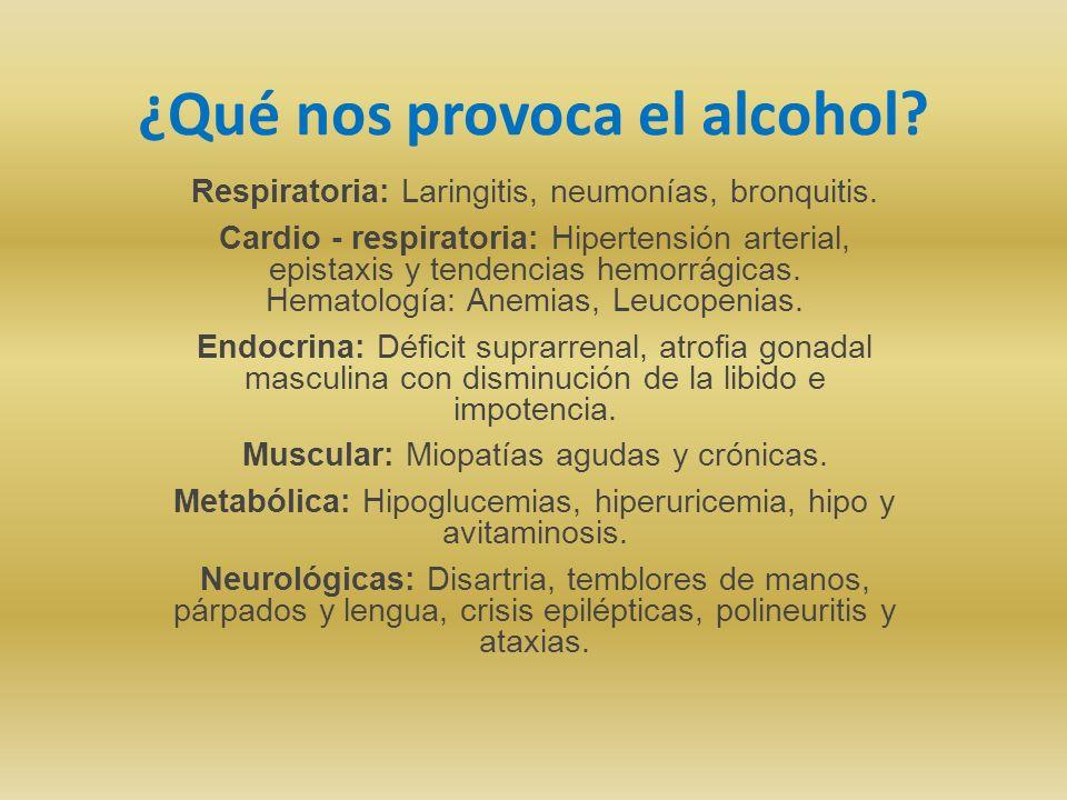 ¿Qué nos provoca el alcohol? Respiratoria: Laringitis, neumonías, bronquitis. Cardio - respiratoria: Hipertensión arterial, epistaxis y tendencias hem