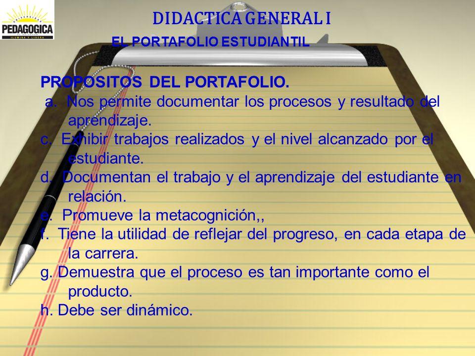 DIDACTICA GENERAL I EL PORTAFOLIO ESTUDIANTIL PROPOSITOS DEL PORTAFOLIO.