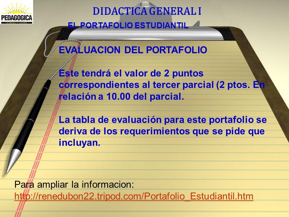 DIDACTICA GENERAL I EL PORTAFOLIO ESTUDIANTIL EVALUACION DEL PORTAFOLIO Este tendrá el valor de 2 puntos correspondientes al tercer parcial (2 ptos.