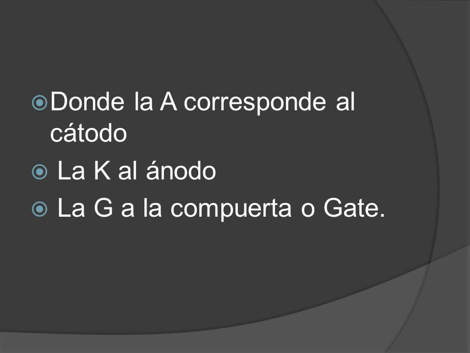 Donde la A corresponde al cátodo La K al ánodo La G a la compuerta o Gate.
