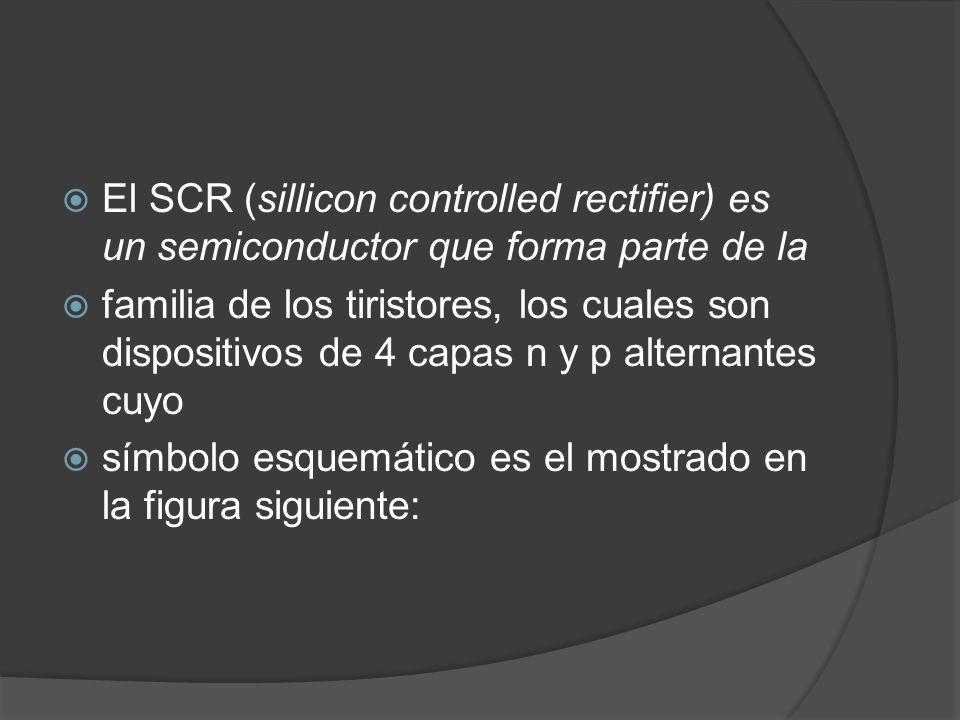 El SCR (sillicon controlled rectifier) es un semiconductor que forma parte de la familia de los tiristores, los cuales son dispositivos de 4 capas n y