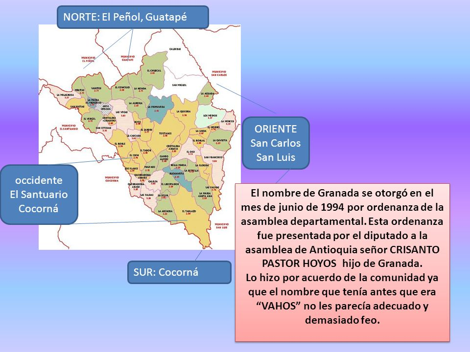 ORIENTE San Carlos San Luis occidente El Santuario Cocorná NORTE: El Peñol, Guatapé SUR: Cocorná El nombre de Granada se otorgó en el mes de junio de