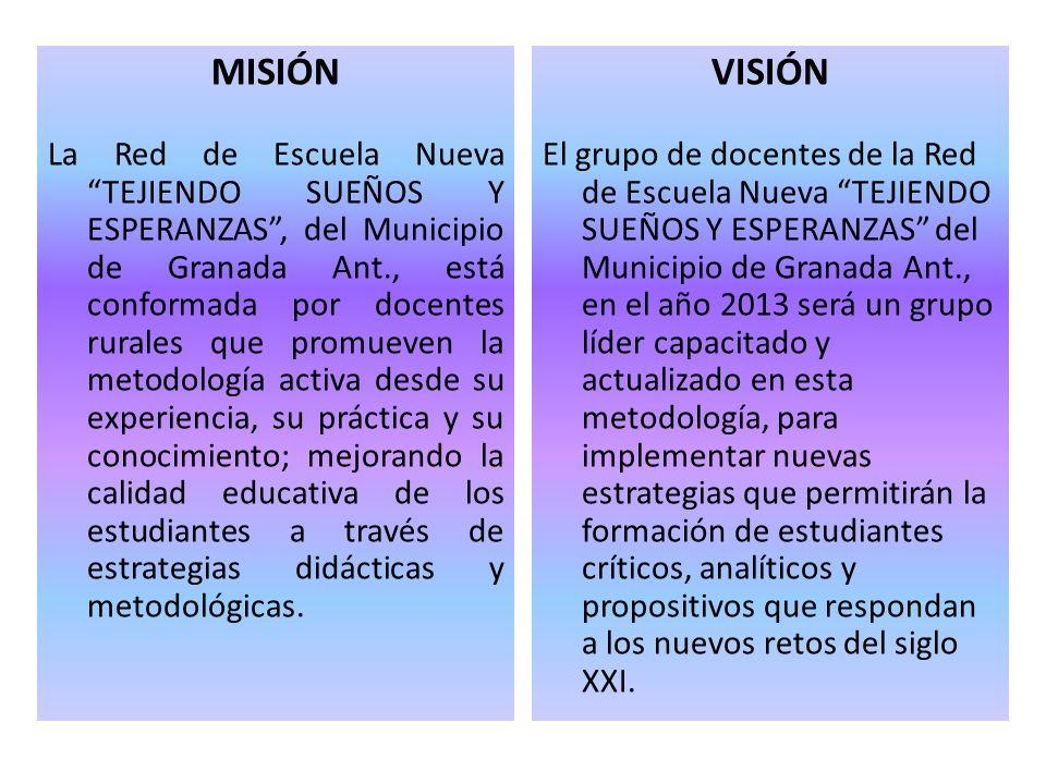 MISIÓN La Red de Escuela Nueva TEJIENDO SUEÑOS Y ESPERANZAS, del Municipio de Granada Ant., está conformada por docentes rurales que promueven la meto