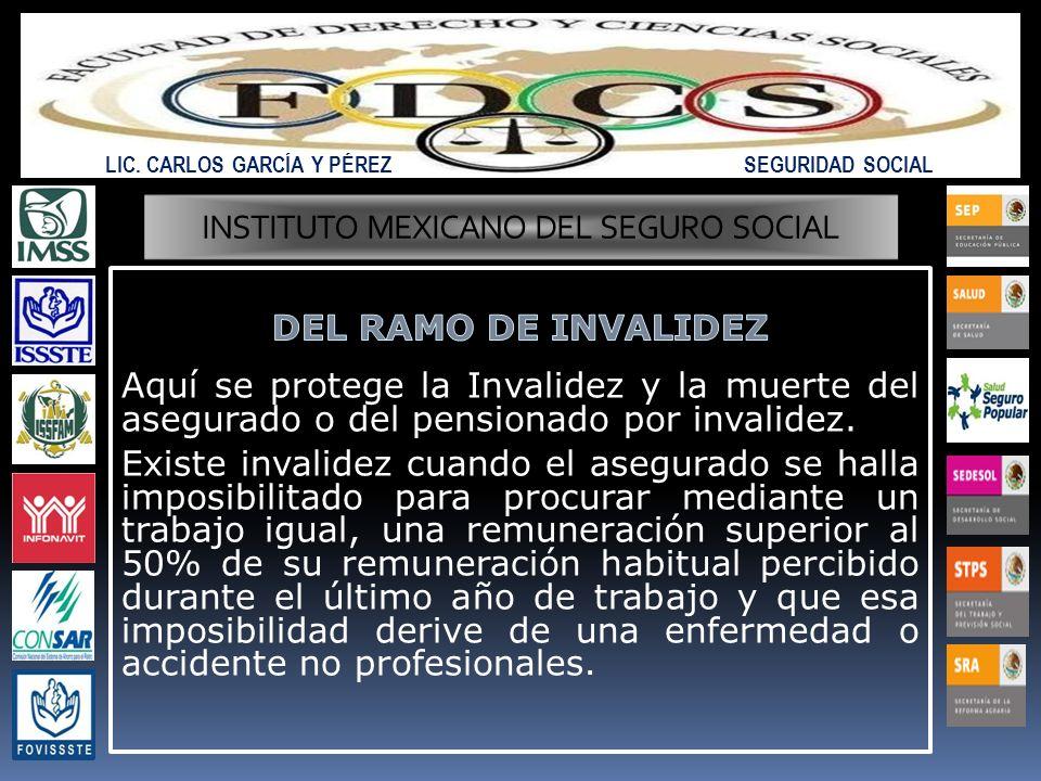 LIC. CARLOS GARCÍA Y PÉREZ SEGURIDAD SOCIAL INSTITUTO MEXICANO DEL SEGURO SOCIAL