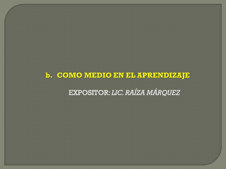 b.COMO MEDIO EN EL APRENDIZAJE EXPOSITOR: LIC. RAÍZA MÁRQUEZ