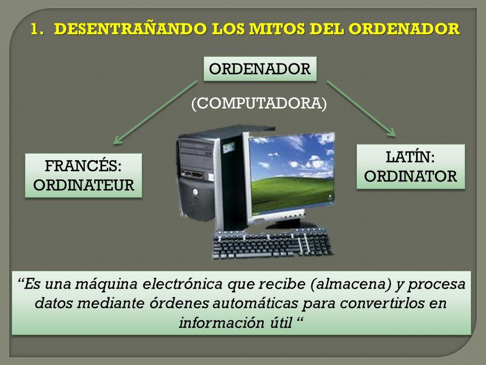 1.DESENTRAÑANDO LOS MITOS DEL ORDENADOR ORDENADOR FRANCÉS: ORDINATEUR FRANCÉS: ORDINATEUR LATÍN: ORDINATOR LATÍN: ORDINATOR Es una máquina electrónica que recibe (almacena) y procesa datos mediante órdenes automáticas para convertirlos en información útil (COMPUTADORA)