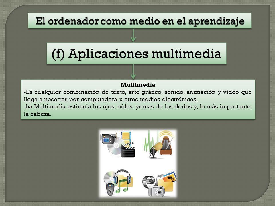El ordenador como medio en el aprendizaje Multimedia -Es cualquier combinación de texto, arte gráfico, sonido, animación y vídeo que llega a nosotros por computadora u otros medios electrónicos.