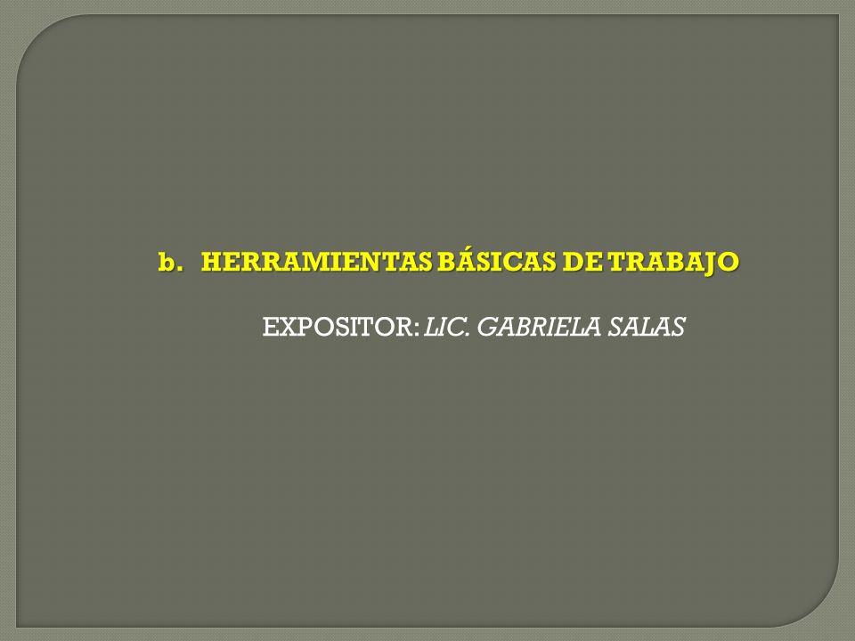 b.HERRAMIENTAS BÁSICAS DE TRABAJO EXPOSITOR: LIC. GABRIELA SALAS