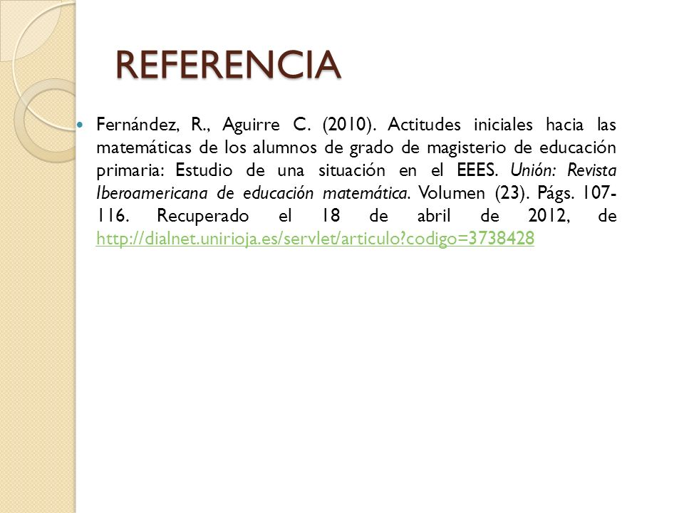 REFERENCIA Fernández, R., Aguirre C.(2010).