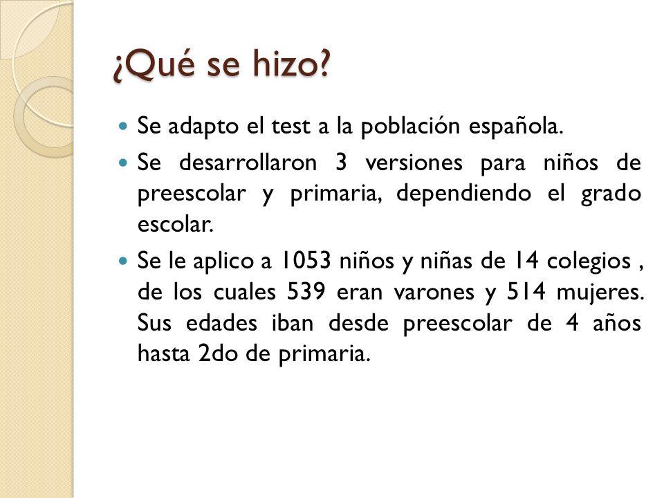 ¿Qué se hizo? Se adapto el test a la población española. Se desarrollaron 3 versiones para niños de preescolar y primaria, dependiendo el grado escola