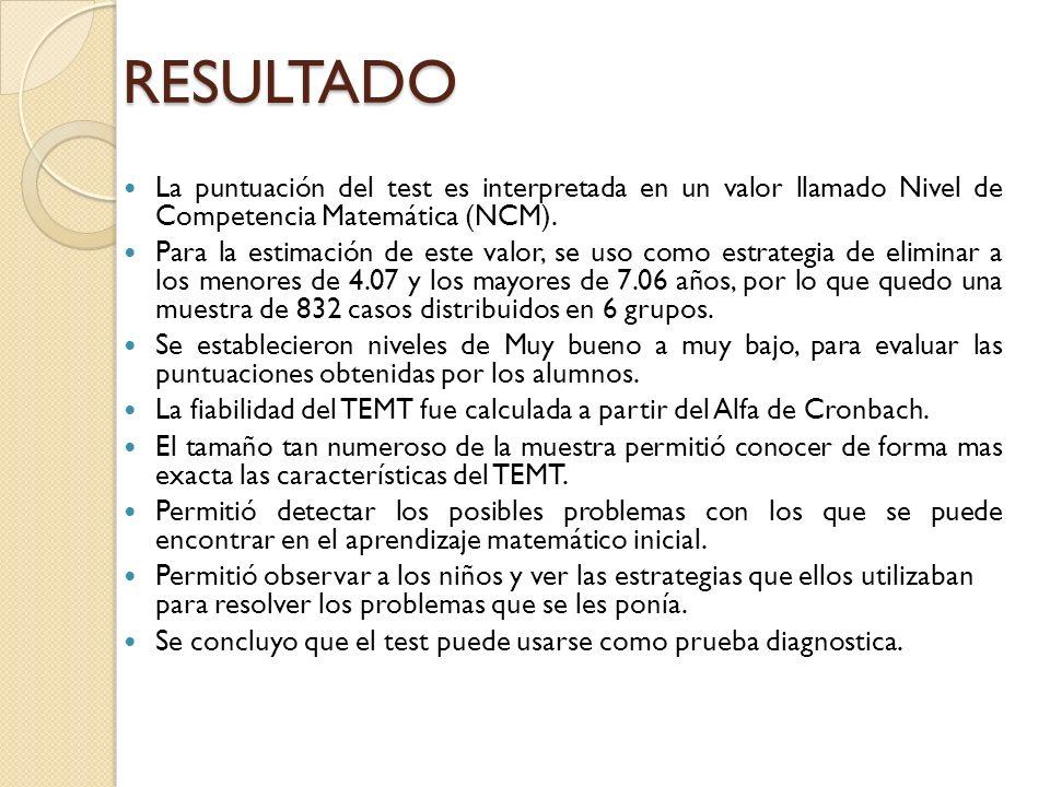 RESULTADO La puntuación del test es interpretada en un valor llamado Nivel de Competencia Matemática (NCM). Para la estimación de este valor, se uso c