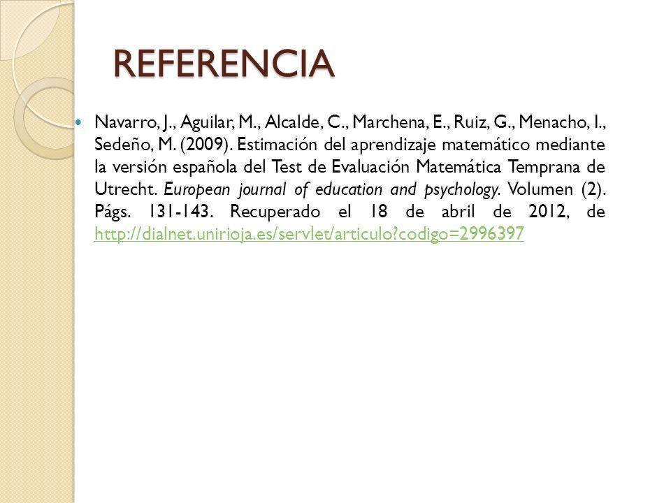 REFERENCIA Navarro, J., Aguilar, M., Alcalde, C., Marchena, E., Ruiz, G., Menacho, I., Sedeño, M. (2009). Estimación del aprendizaje matemático median