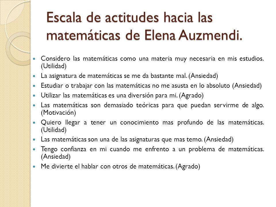 Escala de actitudes hacia las matemáticas de Elena Auzmendi. Considero las matemáticas como una materia muy necesaria en mis estudios. (Utilidad) La a