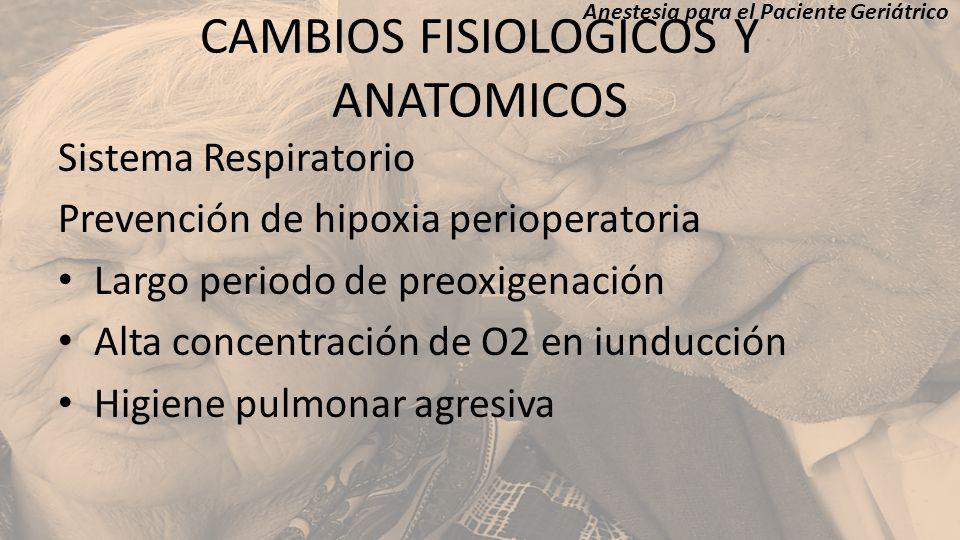CAMBIOS FISIOLOGICOS Y ANATOMICOS Sistema Respiratorio Prevención de hipoxia perioperatoria Largo periodo de preoxigenación Alta concentración de O2 e
