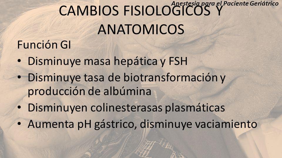 CAMBIOS FISIOLOGICOS Y ANATOMICOS Función GI Disminuye masa hepática y FSH Disminuye tasa de biotransformación y producción de albúmina Disminuyen col