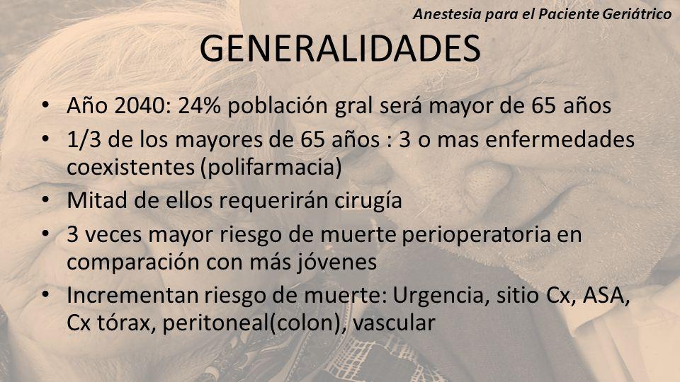 GENERALIDADES Año 2040: 24% población gral será mayor de 65 años 1/3 de los mayores de 65 años : 3 o mas enfermedades coexistentes (polifarmacia) Mita
