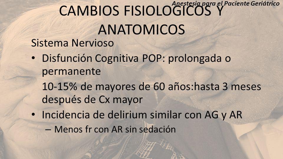 CAMBIOS FISIOLOGICOS Y ANATOMICOS Sistema Nervioso Disfunción Cognitiva POP: prolongada o permanente 10-15% de mayores de 60 años:hasta 3 meses despué