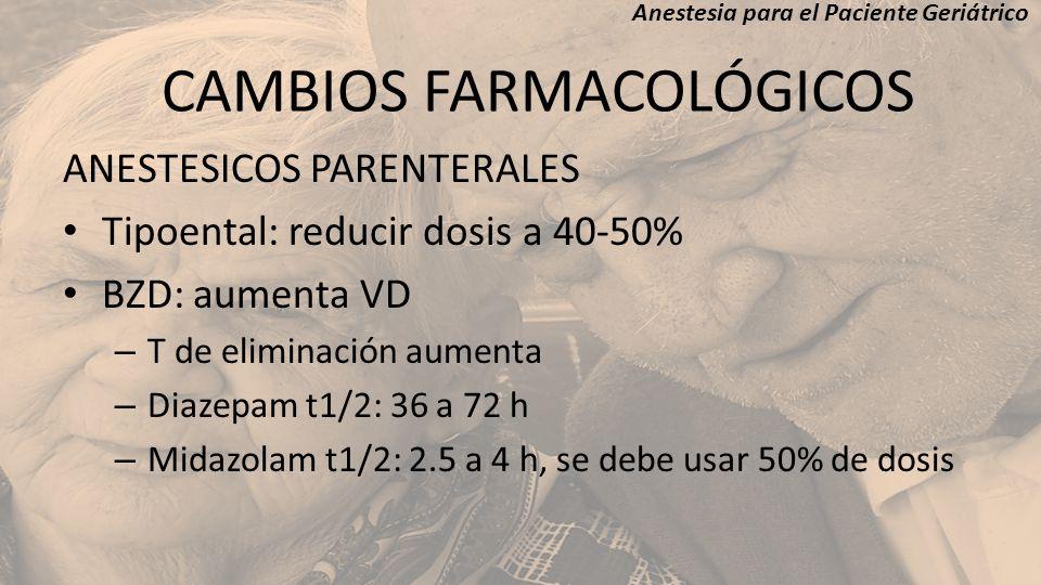 ANESTESICOS PARENTERALES Tipoental: reducir dosis a 40-50% BZD: aumenta VD – T de eliminación aumenta – Diazepam t1/2: 36 a 72 h – Midazolam t1/2: 2.5