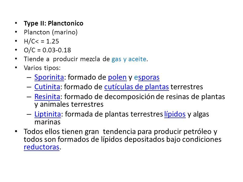 Type II: Planctonico Plancton (marino) H/C< = 1.25 O/C = 0.03-0.18 Tiende a producir mezcla de gas y aceite. Varios tipos: – Sporinita: formado de pol