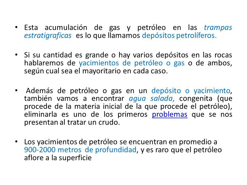 Esta acumulación de gas y petróleo en las trampas estratigraficas es lo que llamamos depósitos petrolíferos. Si su cantidad es grande o hay varios dep