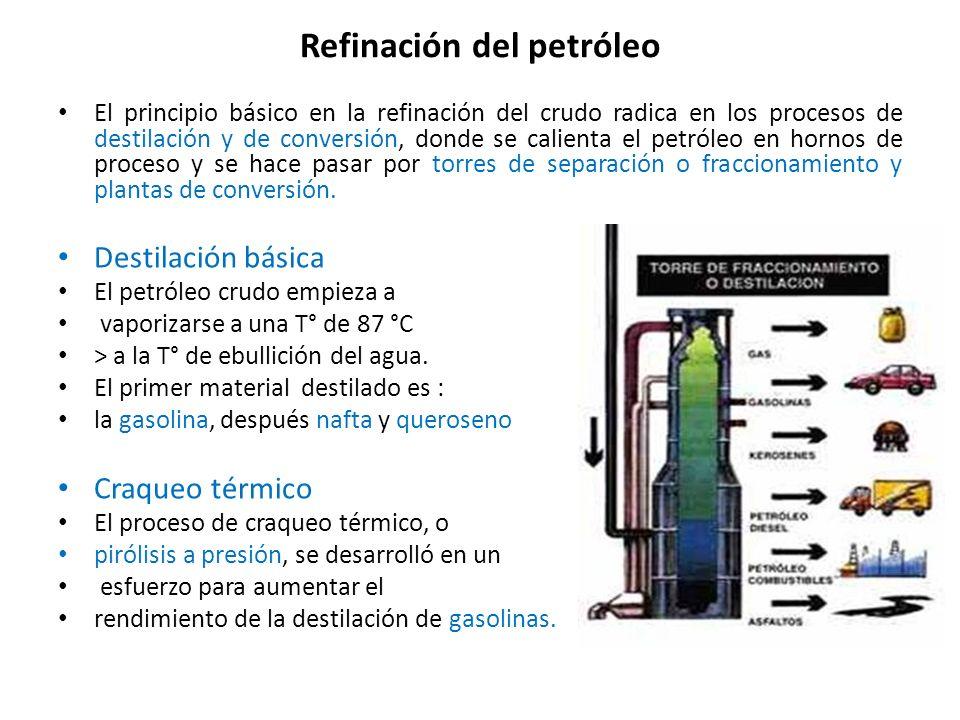 Refinación del petróleo El principio básico en la refinación del crudo radica en los procesos de destilación y de conversión, donde se calienta el pet