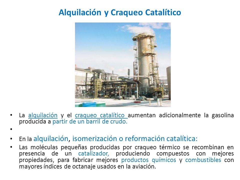Alquilación y Craqueo Catalítico La alquilación y el craqueo catalítico aumentan adicionalmente la gasolina producida a partir de un barril de crudo.