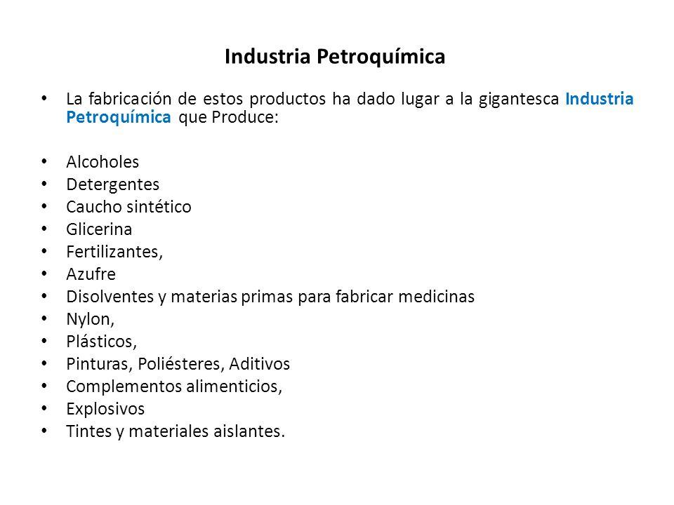 Industria Petroquímica La fabricación de estos productos ha dado lugar a la gigantesca Industria Petroquímica que Produce: Alcoholes Detergentes Cauch