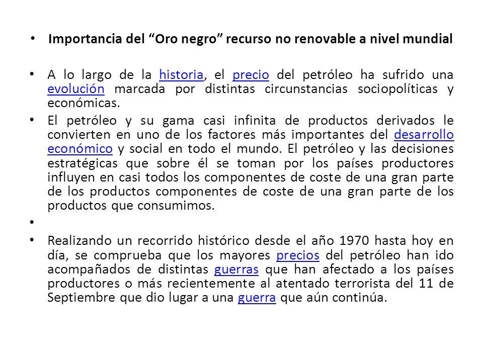 Importancia del Oro negro recurso no renovable a nivel mundial A lo largo de la historia, el precio del petróleo ha sufrido una evolución marcada por
