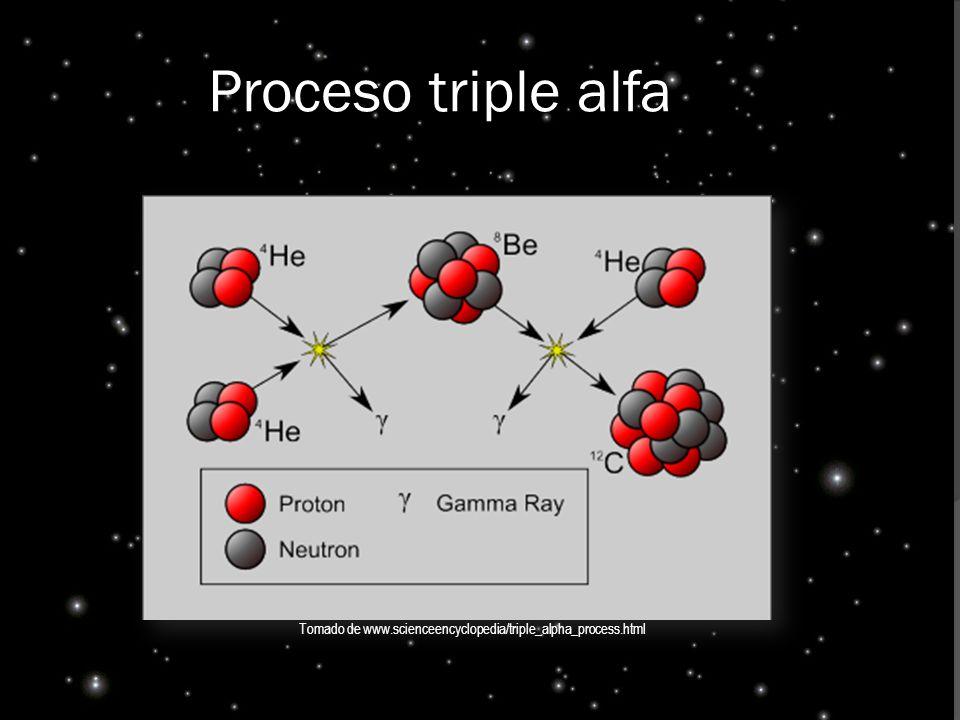 Proceso triple alfa Tomado de www.scienceencyclopedia/triple_alpha_process.html