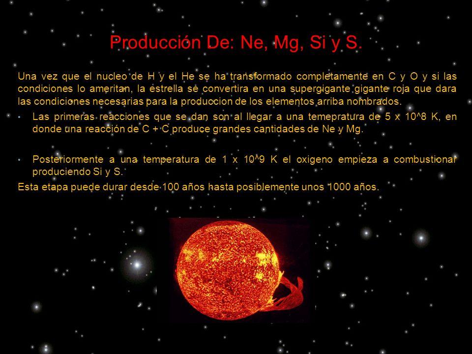 Una vez que el nucleo de H y el He se ha transformado completamente en C y O y si las condiciones lo ameritan, la estrella se convertira en una superg
