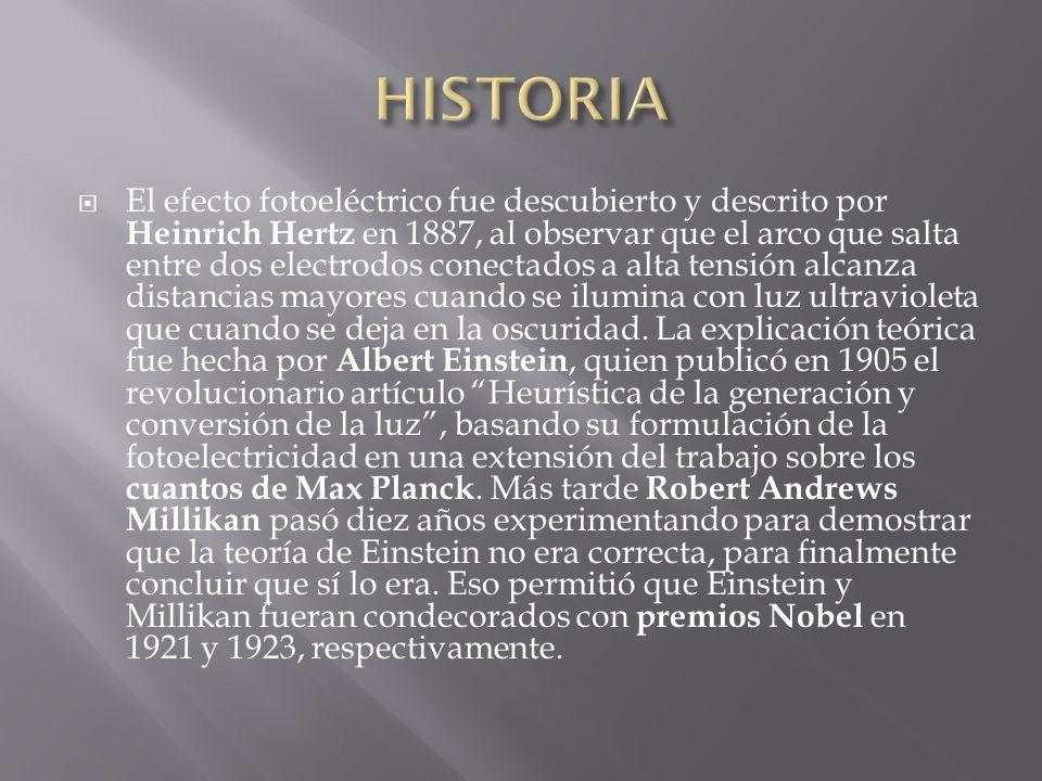El efecto fotoeléctrico fue descubierto y descrito por Heinrich Hertz en 1887, al observar que el arco que salta entre dos electrodos conectados a alt
