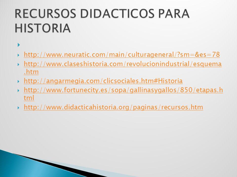 http://www.neuratic.com/main/culturageneral/ sm=&es=78 http://www.claseshistoria.com/revolucionindustrial/esquema.htm http://www.claseshistoria.com/revolucionindustrial/esquema.htm http://angarmegia.com/clicsociales.htm#Historia http://www.fortunecity.es/sopa/gallinasygallos/850/etapas.h tml http://www.fortunecity.es/sopa/gallinasygallos/850/etapas.h tml http://www.didacticahistoria.org/paginas/recursos.htm