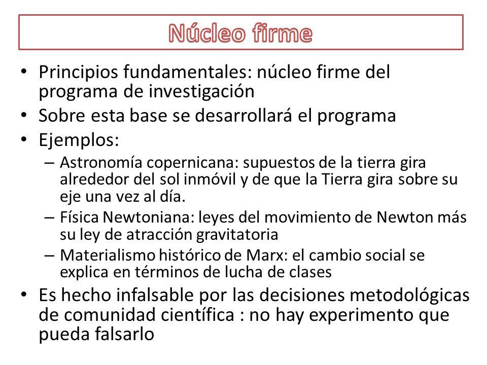 Principios fundamentales: núcleo firme del programa de investigación Sobre esta base se desarrollará el programa Ejemplos: – Astronomía copernicana: s