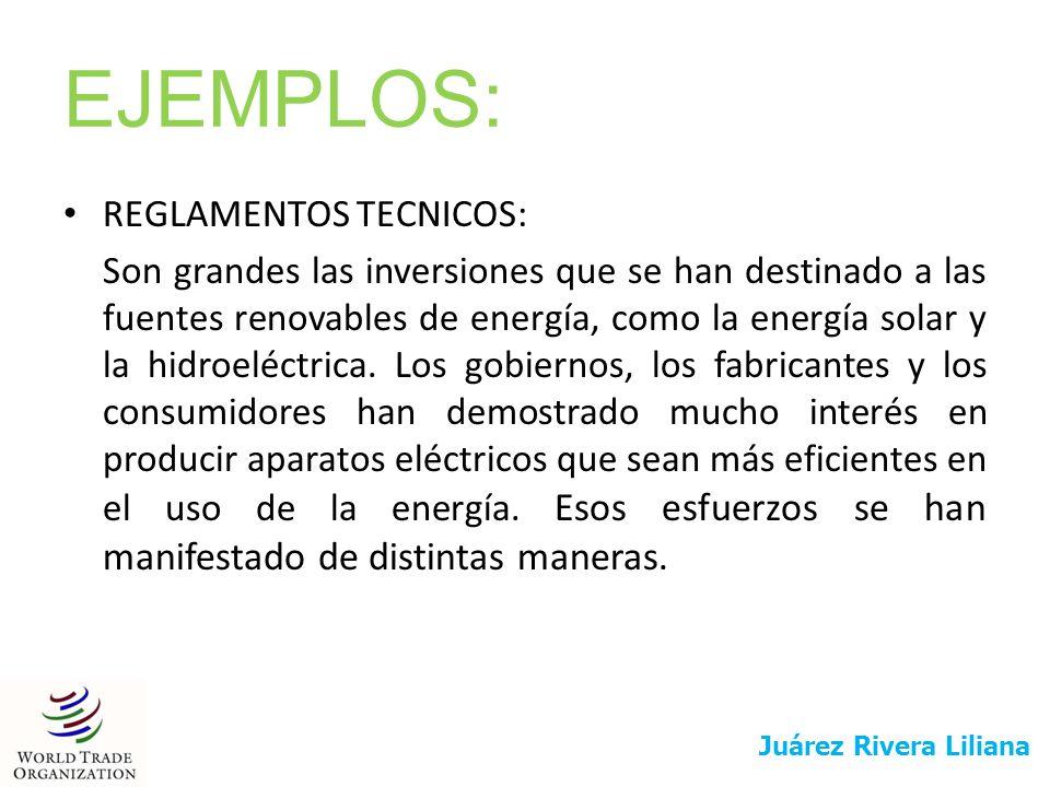 EJEMPLOS: REGLAMENTOS TECNICOS: Son grandes las inversiones que se han destinado a las fuentes renovables de energía, como la energía solar y la hidro