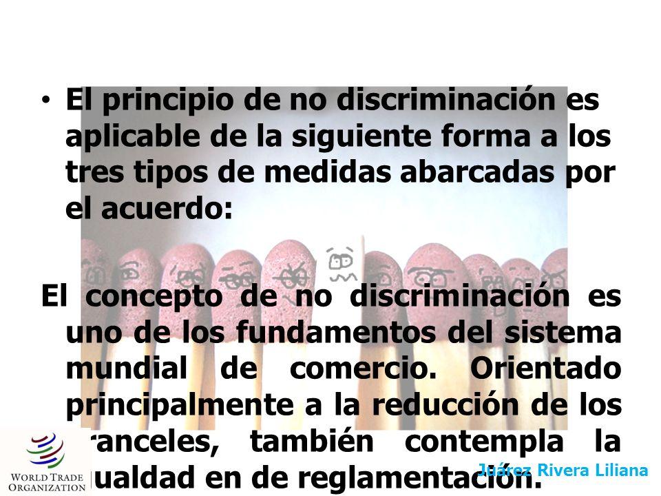 El principio de no discriminación es aplicable de la siguiente forma a los tres tipos de medidas abarcadas por el acuerdo: El concepto de no discrimin