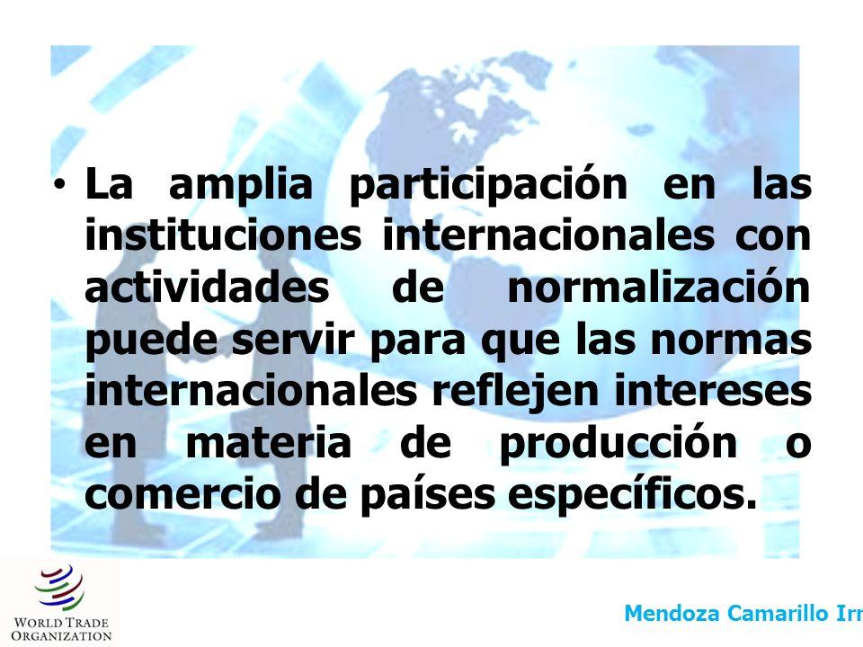 La amplia participación en las instituciones internacionales con actividades de normalización puede servir para que las normas internacionales refleje