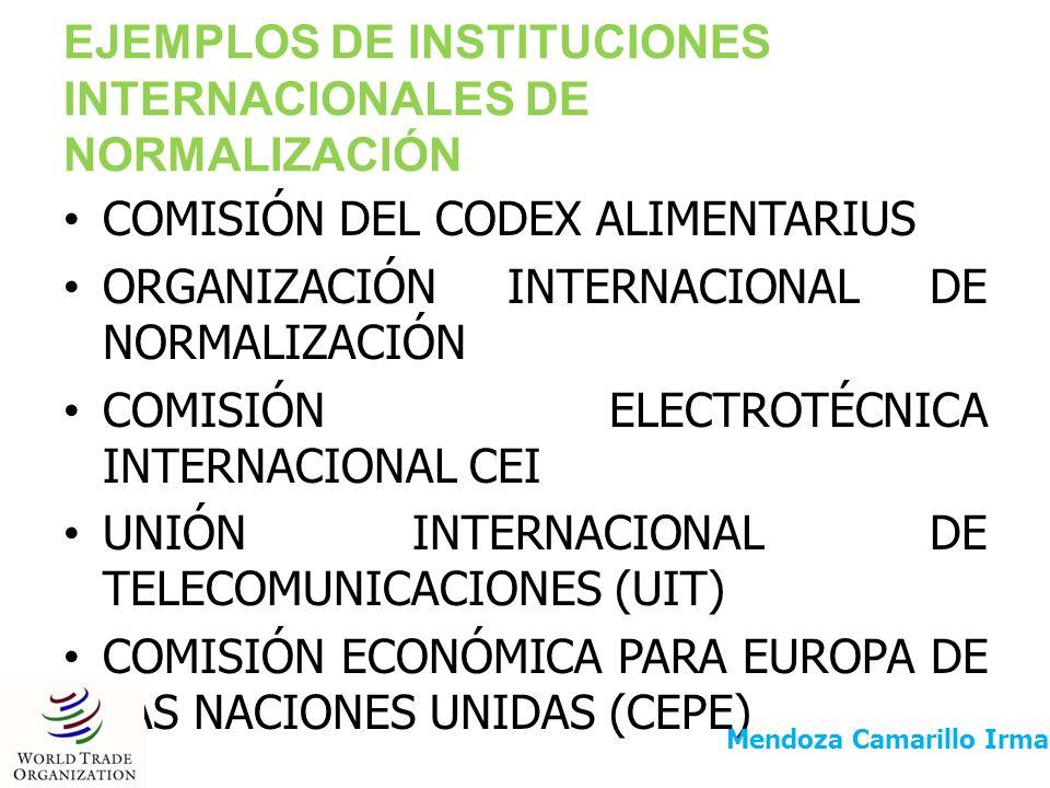 EJEMPLOS DE INSTITUCIONES INTERNACIONALES DE NORMALIZACIÓN COMISIÓN DEL CODEX ALIMENTARIUS ORGANIZACIÓN INTERNACIONAL DE NORMALIZACIÓN COMISIÓN ELECTR