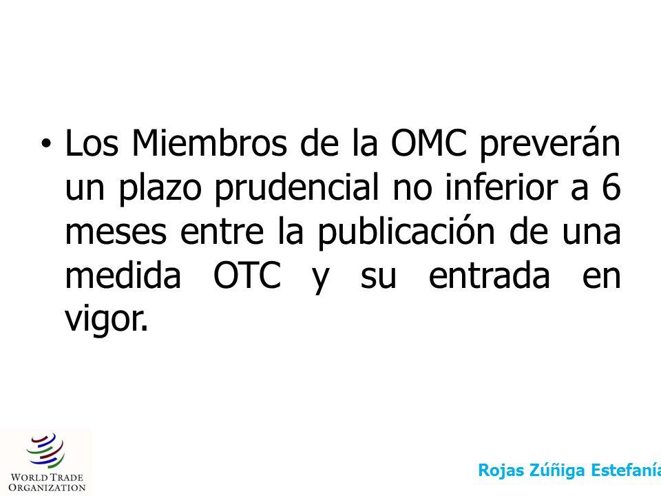Los Miembros de la OMC preverán un plazo prudencial no inferior a 6 meses entre la publicación de una medida OTC y su entrada en vigor. Rojas Zúñiga E
