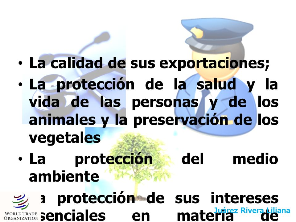 La calidad de sus exportaciones; La protección de la salud y la vida de las personas y de los animales y la preservación de los vegetales La protecció