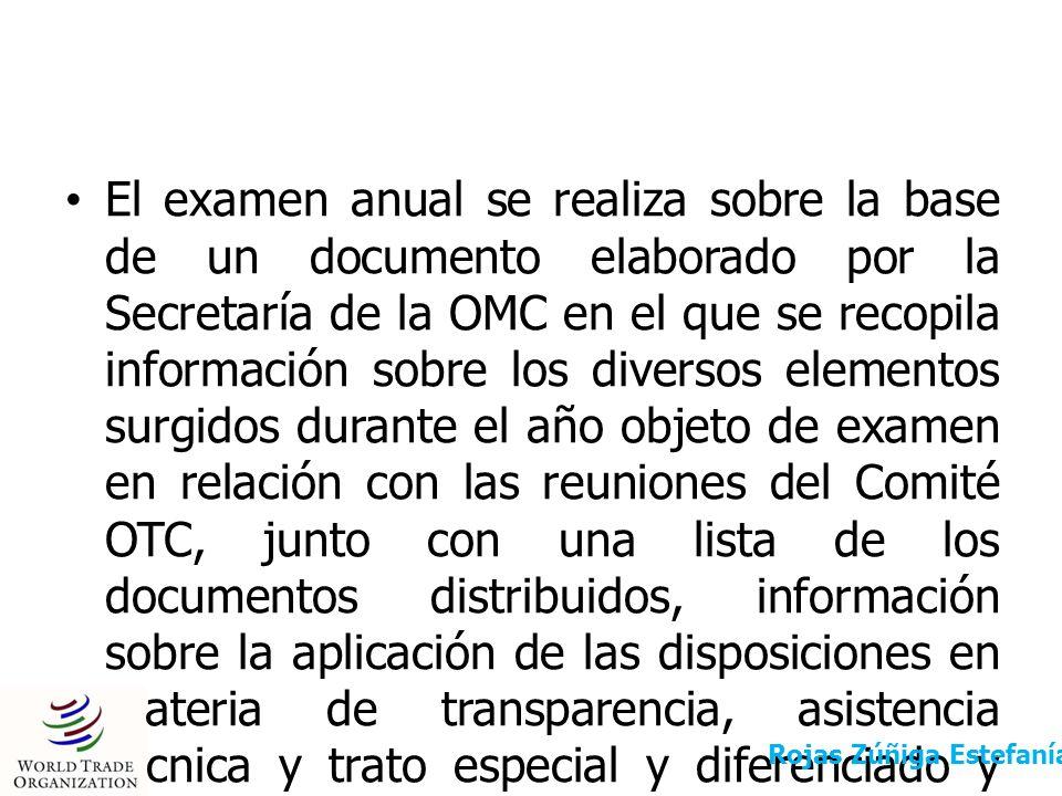 El examen anual se realiza sobre la base de un documento elaborado por la Secretaría de la OMC en el que se recopila información sobre los diversos el