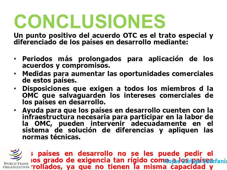 CONCLUSIONES Un punto positivo del acuerdo OTC es el trato especial y diferenciado de los países en desarrollo mediante: Periodos más prolongados para