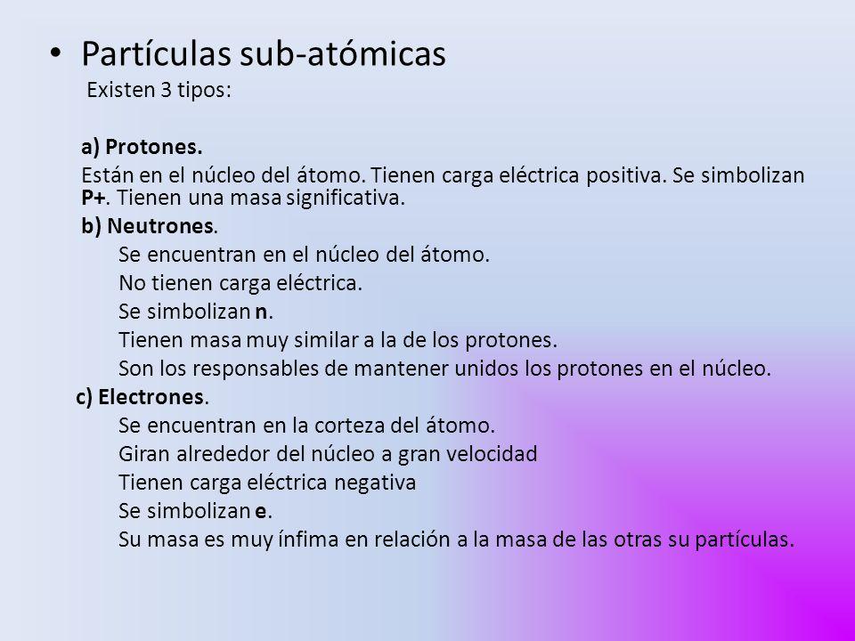 Partículas sub-atómicas Existen 3 tipos: a) Protones. Están en el núcleo del átomo. Tienen carga eléctrica positiva. Se simbolizan P+. Tienen una masa