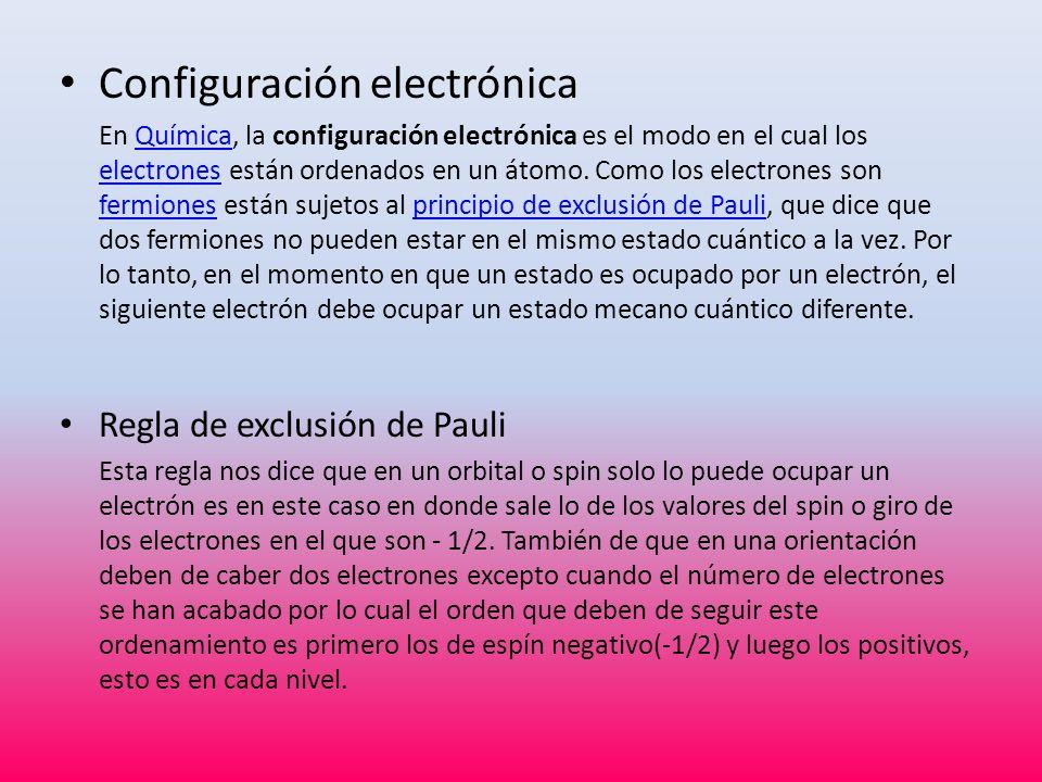 Configuración electrónica En Química, la configuración electrónica es el modo en el cual los electrones están ordenados en un átomo. Como los electron