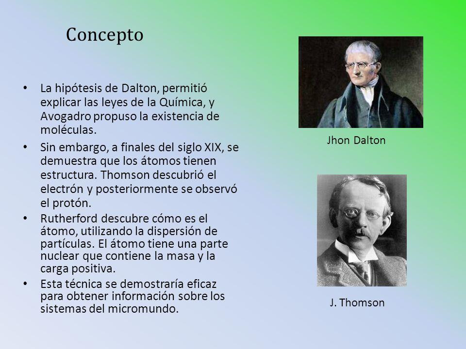 Concepto La hipótesis de Dalton, permitió explicar las leyes de la Química, y Avogadro propuso la existencia de moléculas. Sin embargo, a finales del